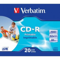 CD-R Verbatim 700MB 52x Printable slim box  ve43424