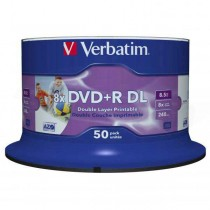 DVD+R Verbatim DL 8.5GB, 12cm Printable 8x / 50ks