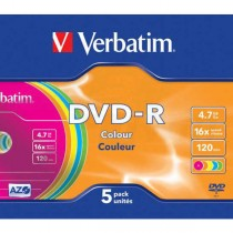 DVD-R Verbatim 4,7GB Color / 5ks slim box  ve43557