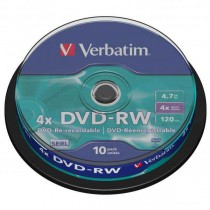 DVD-RW Verbatim 4x DataLife PLUS, 4.7GB, 12cm, cake box,10-pack