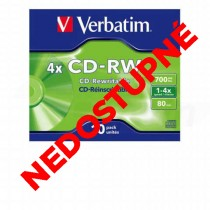 CD-RW Verbatim 700MB 4x jewel case  ve43123 NEDOSTUPNÉ