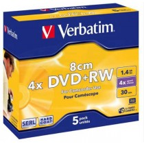 DVD+RW Verbatim, 43565, DataLife PLUS, 5-pack, 1.46GB, 4x, 8cm, Mini, General, ScratchGuard, jewel box, Matte hardcoated